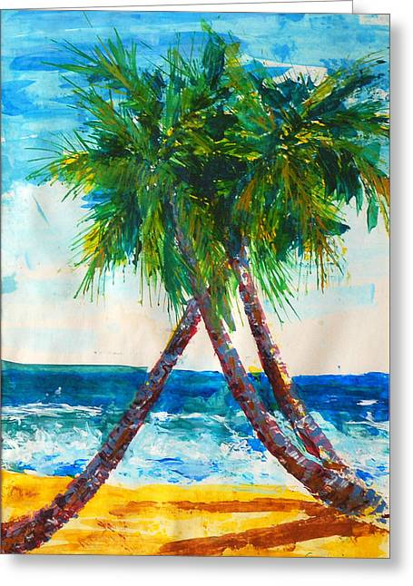 South Beach Palms Greeting Card