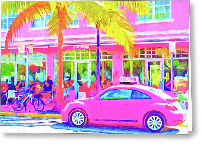 South Beach Pink Greeting Card by Dennis Cox WorldViews