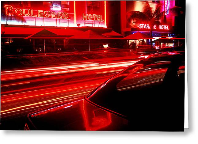 South Beach Red Greeting Card by Brad Rickerby