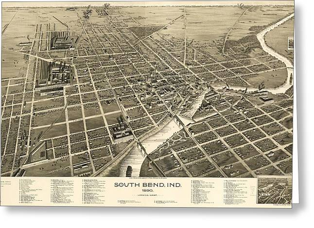 South Bend Indiana 1890 Greeting Card