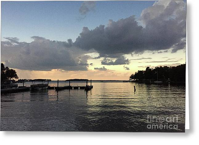 South Carolina Lake Murray Surreal Clouds Pier Beach Scene Greeting Card