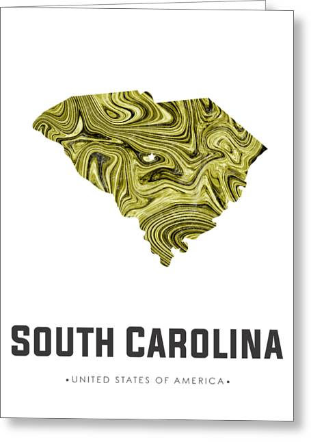 South Carolina Map Art Abstract In Olive Greeting Card