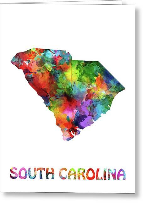 South Carolina Map Watercolor Greeting Card