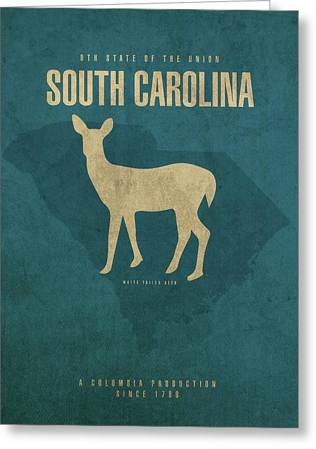 South Carolina State Facts Minimalist Movie Poster Art Greeting Card by Design Turnpike