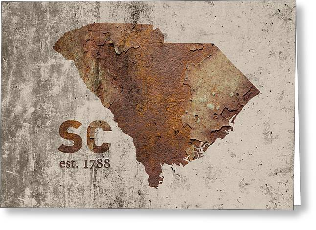 South Carolina State Map Industrial Rusted Metal On Cement Wall With Founding Date Series 010 Greeting Card by Design Turnpike