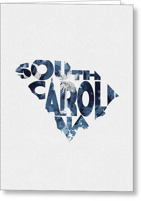 South Carolina Typographic Map Flag Greeting Card