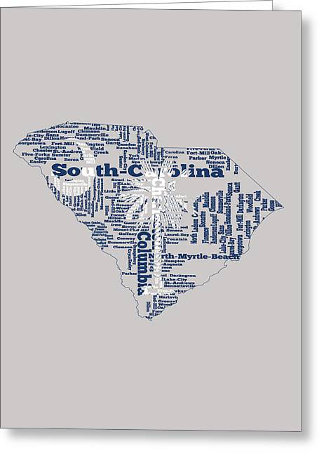 South Carolina Word Art 1b Greeting Card