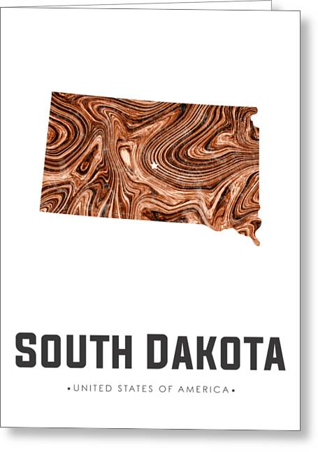 South Dakota Map Art Abstract In Brown Greeting Card