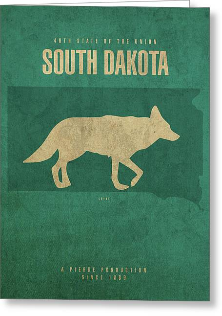 South Dakota State Facts Minimalist Movie Poster Art Greeting Card by Design Turnpike