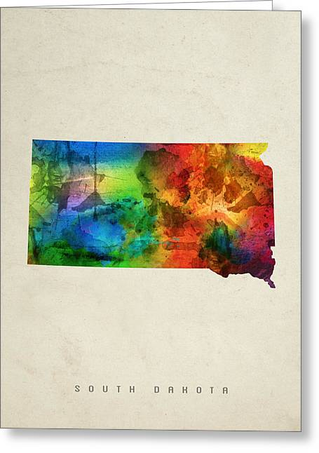 South Dakota State Map 03 Greeting Card by Aged Pixel