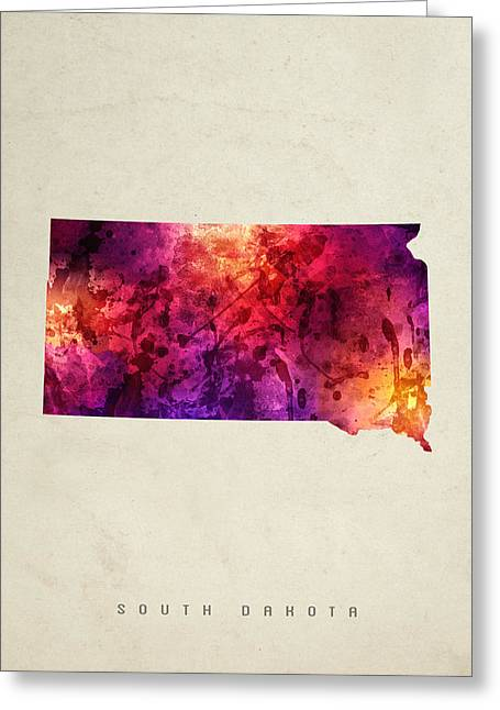 South Dakota State Map 05 Greeting Card by Aged Pixel