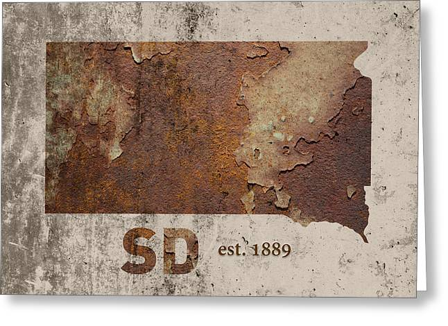 South Dakota State Map Industrial Rusted Metal On Cement Wall With Founding Date Series 036 Greeting Card by Design Turnpike
