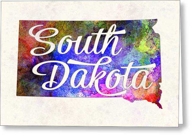 South Dakota Us State In Watercolor Text Cut Out. Greeting Card by Pablo Romero
