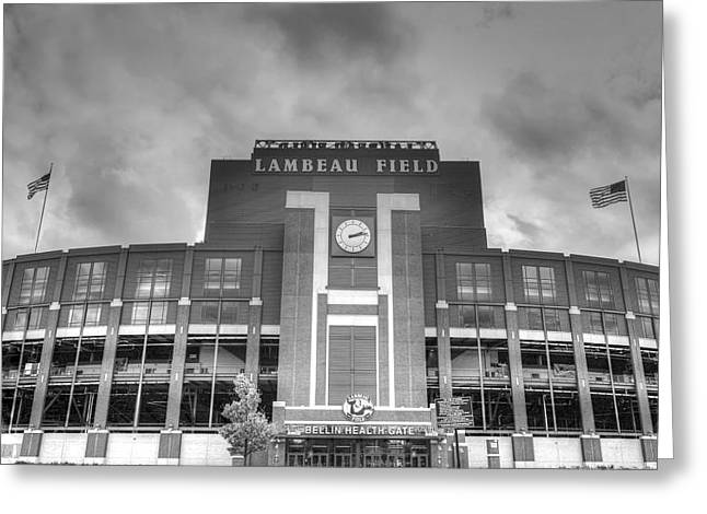 Lambeau Field Photographs Greeting Cards - South end zone Lambeau Field Greeting Card by James Darmawan