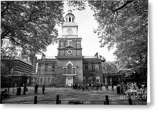 south facade Independence Hall Philadelphia USA Greeting Card