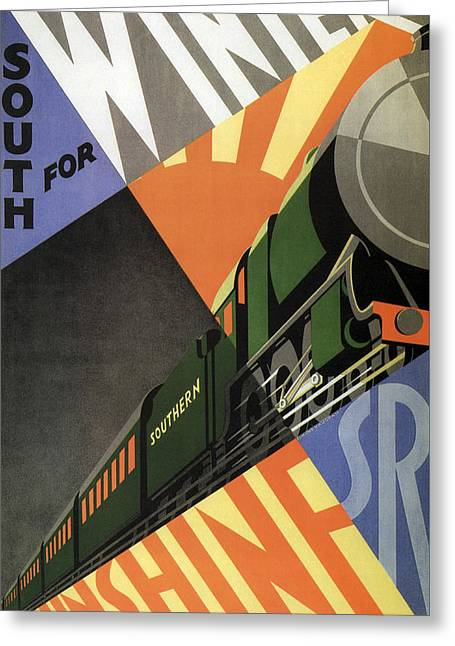 British Go South For Winter Sunshine Vintage Travel C. 1934 Greeting Card by Daniel Hagerman