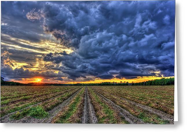 South Georgia Peanut Field Stormy Start Sunset Greeting Card by Reid Callaway