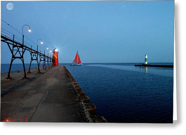 South Haven Lighthouse Pier Greeting Card