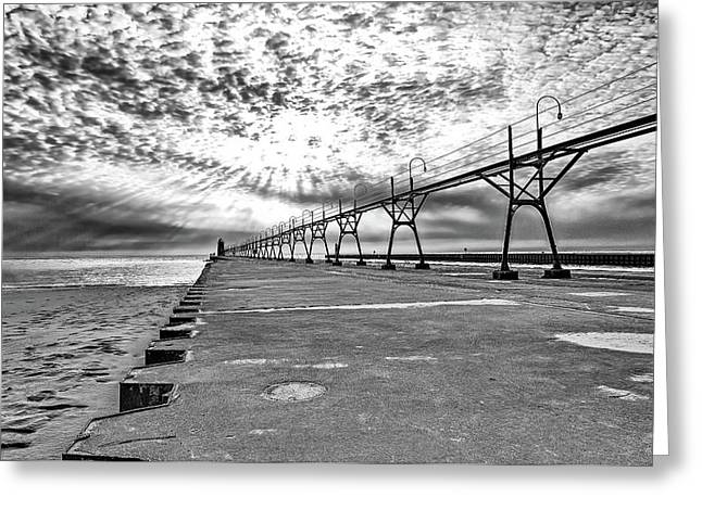 South Haven Pier Wide Angle Greeting Card