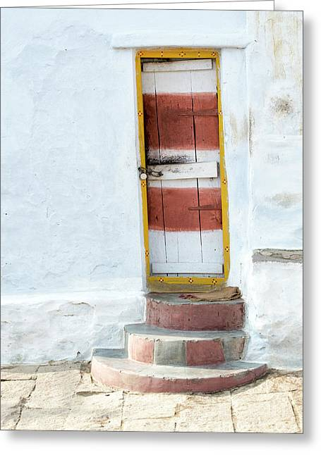 South Indian Village Door Greeting Card by Tim Gainey