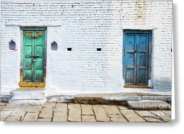 South Indian Village Doors Greeting Card by Tim Gainey