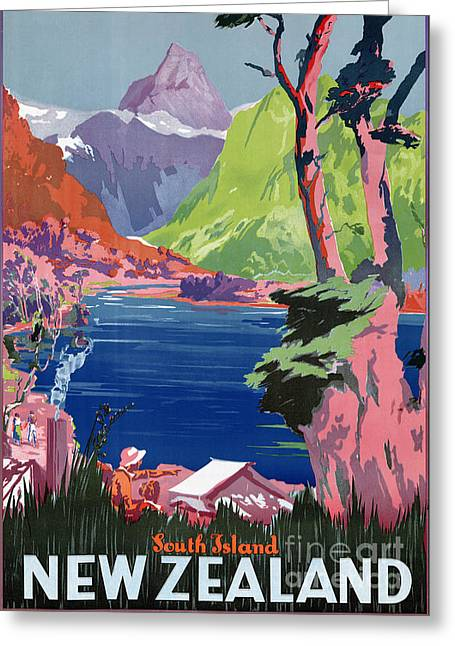 South Island New Zealand Vintage Poster Restored Greeting Card