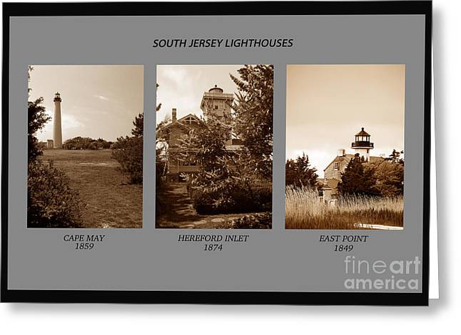 Beach Photography Greeting Cards - South Jersey Lighthouses In Sepia Greeting Card by Skip Willits