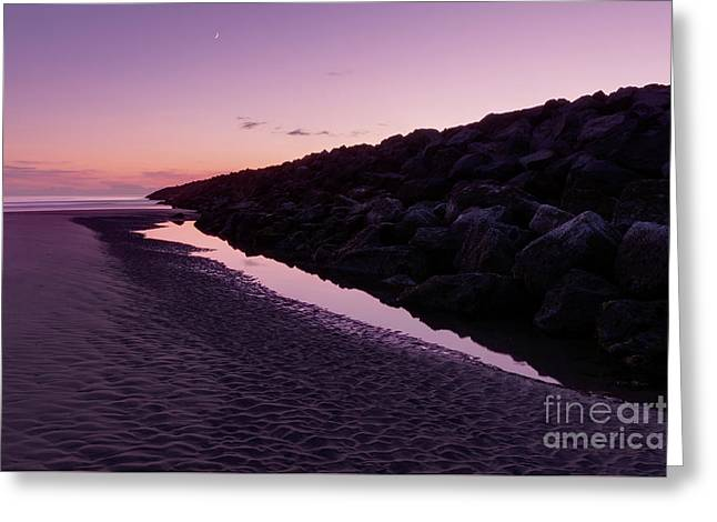 South Jetty And The Moon Greeting Card by Masako Metz