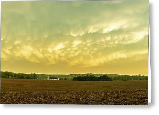 Thunder Storm Over A Pennsylvania Farm Greeting Card
