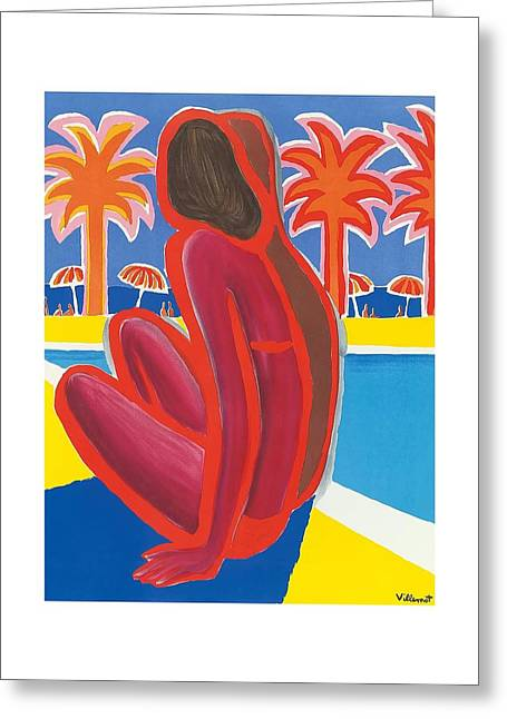 South Of France French Riviera Vintage Travel Poster By Bernard Villemot Greeting Card