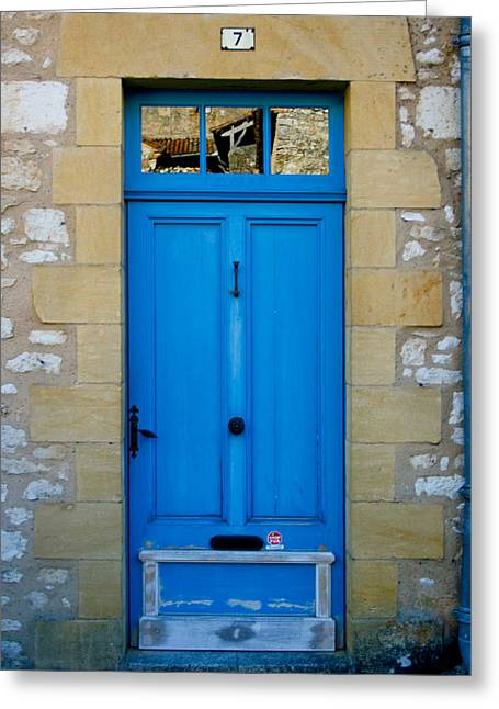 South Of France Rustic Blue Door  Greeting Card by Georgia Fowler