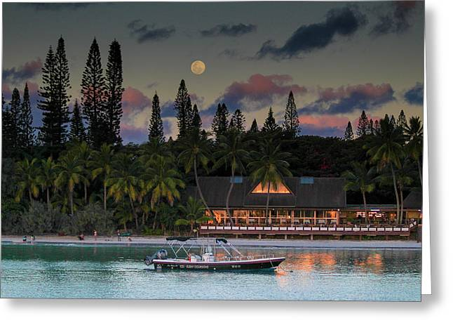 South Pacific Moonrise Greeting Card
