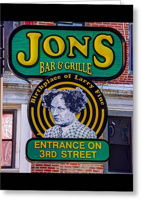 South Philly Skyline - Birthplace Of Larry Fine Near Jon's Bar And Grille-a - Third And South Street Greeting Card