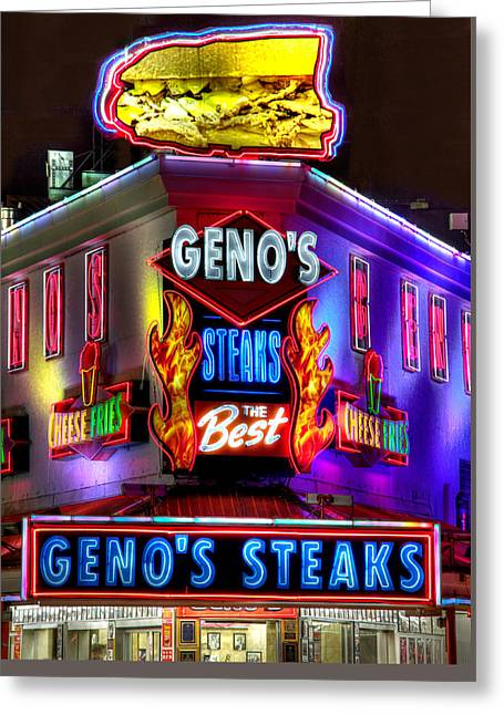 South Philly Skyline - Geno's Steaks-1 - Ninth And Passyunk In South Philadelphia Greeting Card