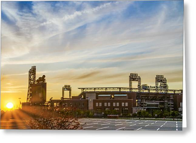 South Philly Sunrise - Citizens Bank Park Greeting Card by Bill Cannon