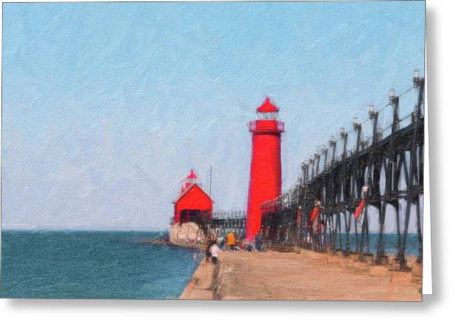 South Pier Of Grand Haven Greeting Card by Tom Mc Nemar