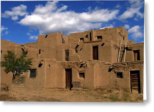 Adobe Greeting Cards - South Pueblo Taos Greeting Card by Kurt Van Wagner