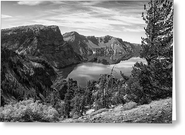 South Rim Of Crater Lake B W Greeting Card by Frank Wilson
