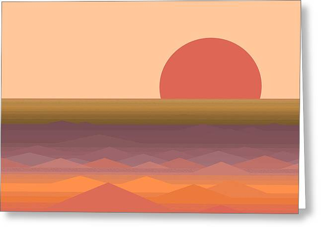 Greeting Card featuring the digital art South Seas Abstract Sunrise by Val Arie