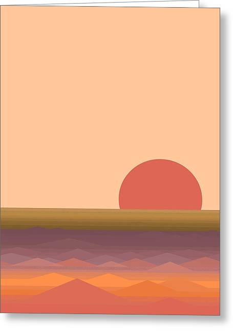 Greeting Card featuring the digital art South Seas Abstract Sunrise - Vertical by Val Arie