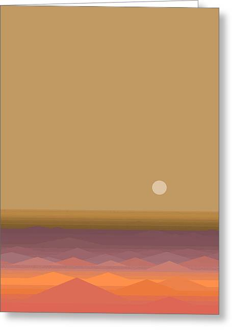 Greeting Card featuring the digital art South Seas Sunrise - Vertical by Val Arie