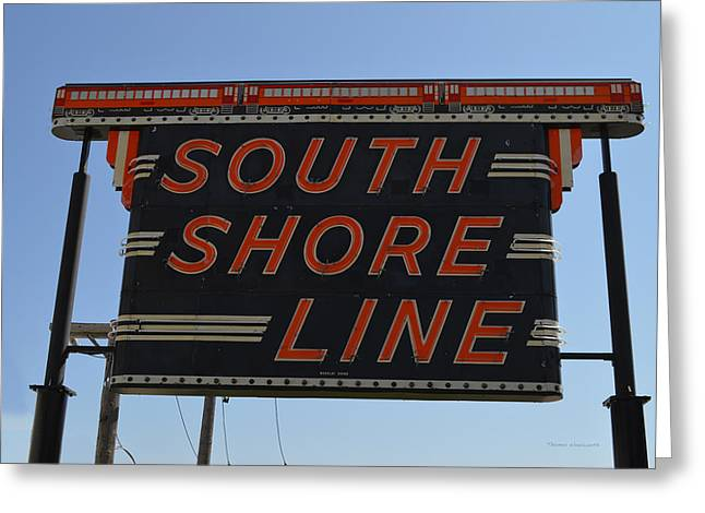 South Shore Line Signage Digital Art Greeting Card by Thomas Woolworth