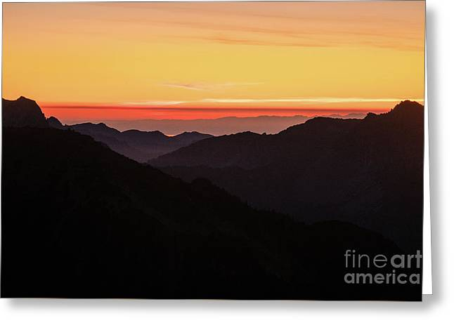South Sound Sunset Layers Greeting Card by Mike Reid