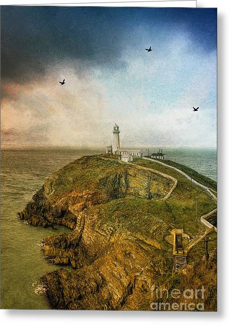 South Stack Lighthouse Greeting Card by Ian Mitchell