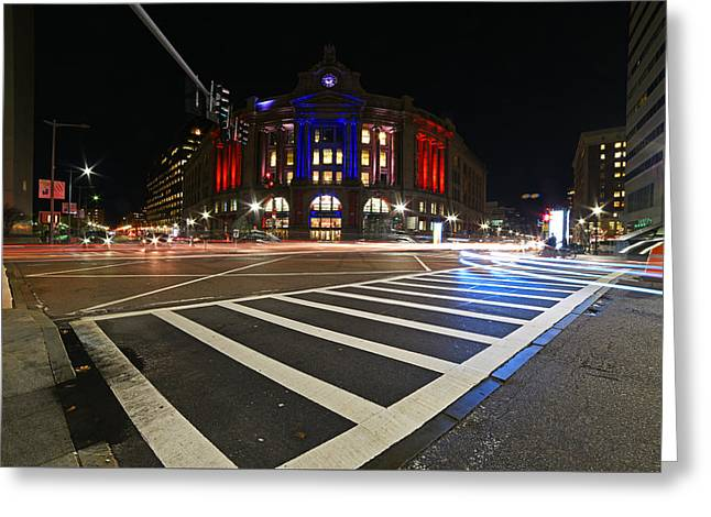 South Station Boston Ma Movement In The Night In Red, White And Blue Greeting Card