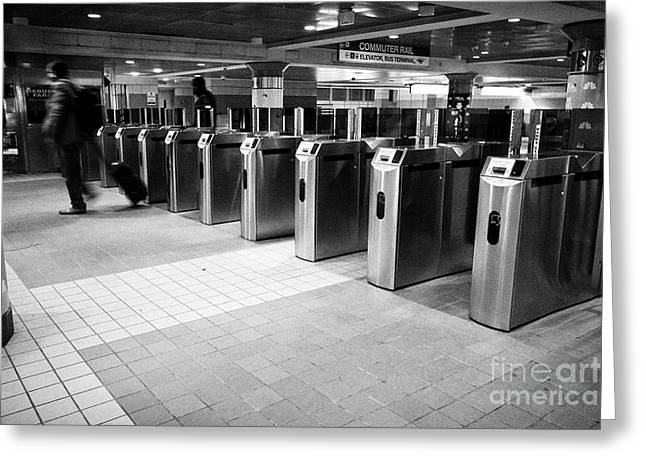 South Street Station Mbta Subway Entrance Gates Boston Usa Greeting Card
