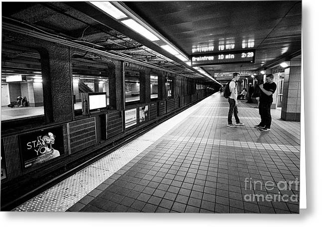South Street Station Subway Mbta Platform Boston Usa Greeting Card