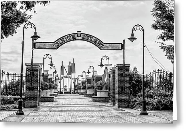 South Street Entrance To Penns Landing In Black And White Greeting Card by Bill Cannon