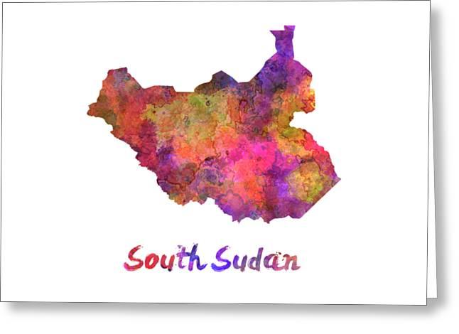 South Sudan In Watercolor Greeting Card