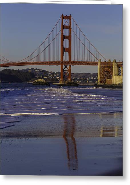 South Tower Golden Gate Bridge Greeting Card by Garry Gay